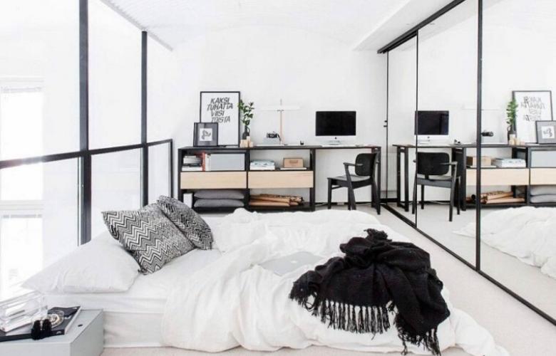 habitacion con espejos de armario
