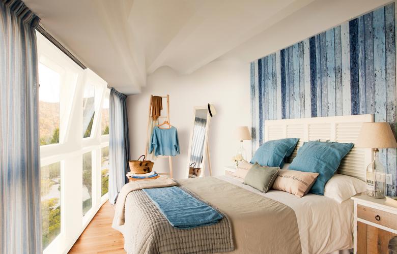 dormitorio color blanco y azul