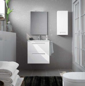 baño gris con blanco