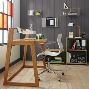 cuarto de estudio gris
