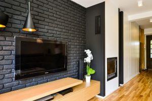 pared negra decorativa en sala de estar