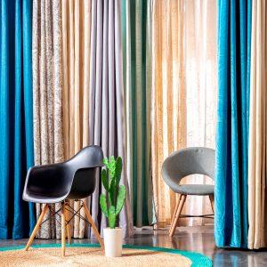 cortinas con tela jacquard